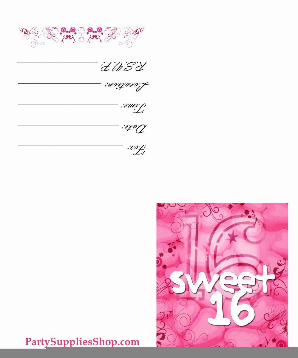 Sweet 16 Invitation Template Beautiful Free Printable Sweet 16th Birthday Invitations