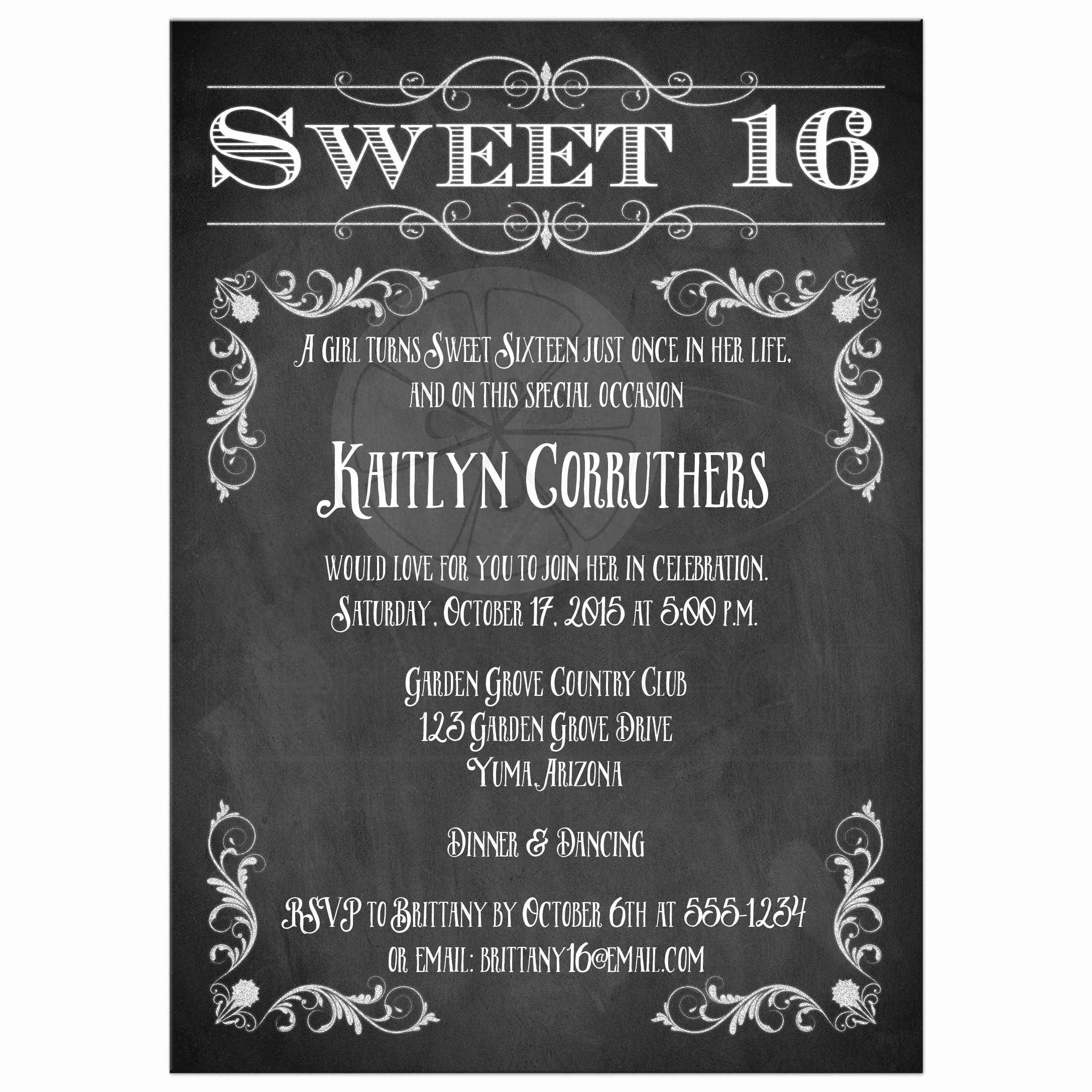 Sweet 16 Invitation Template Beautiful Free Sweet 16 Birthday Invitations – Free Printable
