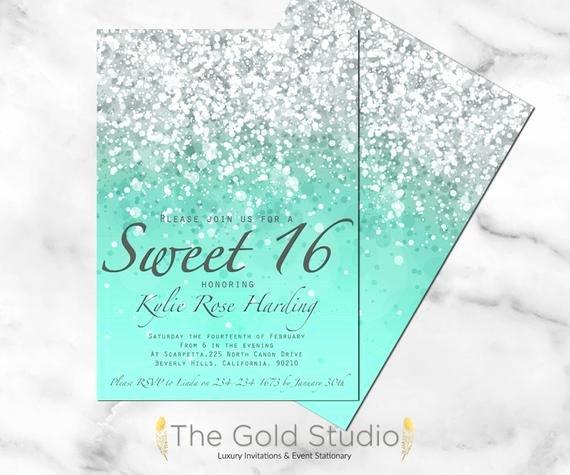 Sweet 16 Invitation Template Best Of Sweet 16 Invitation Sweet Sixteen Mint Green Glitter Invite