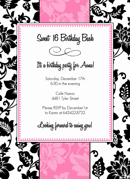 Sweet 16 Invitation Template Lovely 8 Best Of 16th Birthday Invitations Free Printable