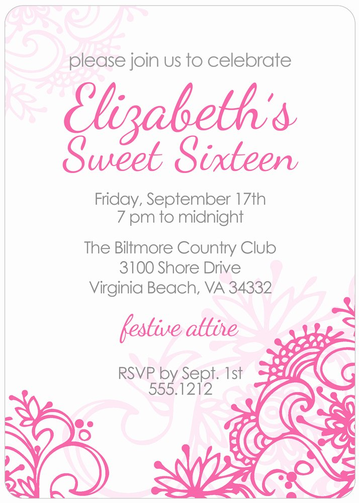 Sweet 16 Invitation Template Lovely Free Printable Sweet 16 Birthday Invitations