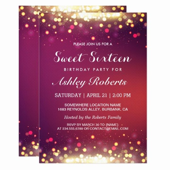 Sweet 16 Invitation Template Lovely Sweet 16 Birthday Party Gold Shimmer Sparkles Card