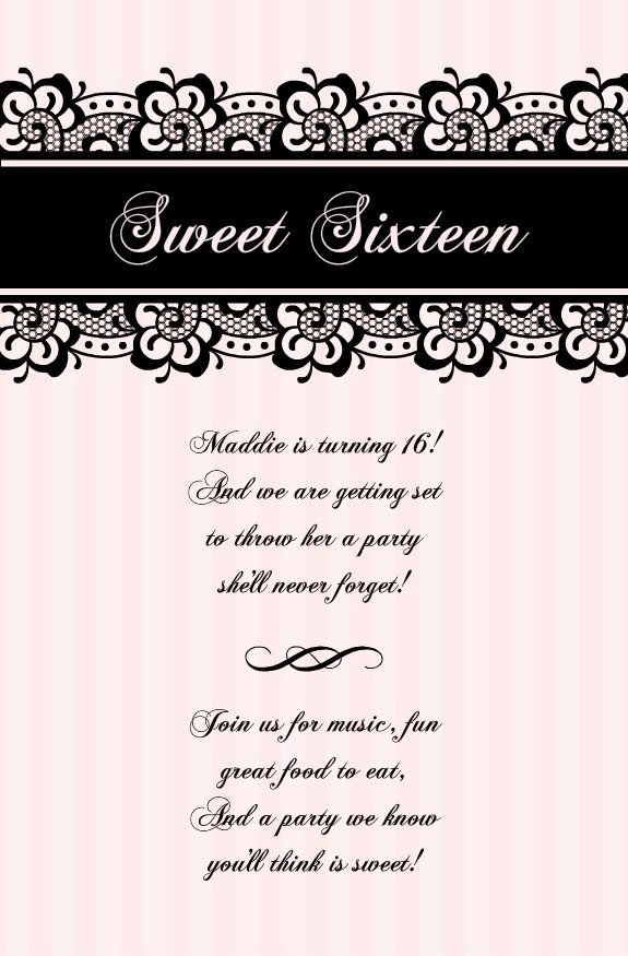Sweet 16 Invitation Template Unique Blank Sweet 16 Invitation Templates