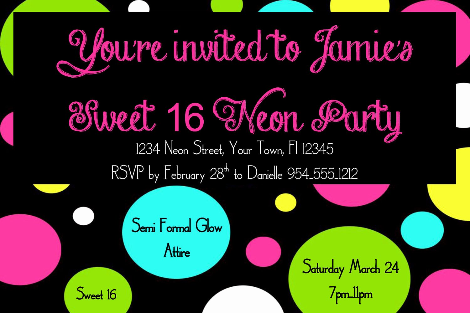 Sweet 16 Invite Template Awesome Neon Sweet 16 Birthday Invitation Template 4x6