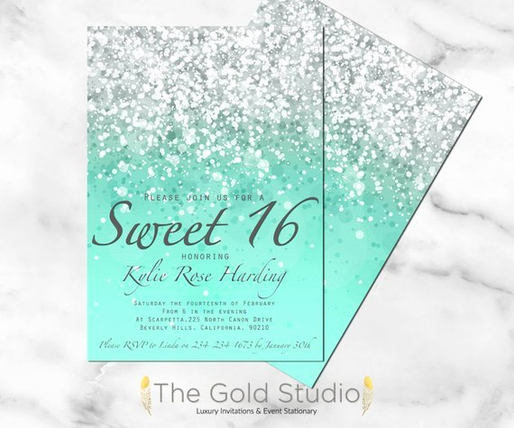 Sweet 16 Invite Template Beautiful Sweet 16 Invitation Sweet Sixteen Mint Green Glitter Invite