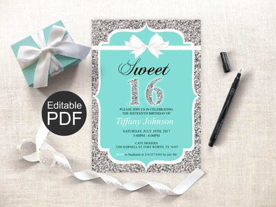 Sweet 16 Invite Template Beautiful Sweet 16 Invitation Template Blue Sweet Sixteen Invites