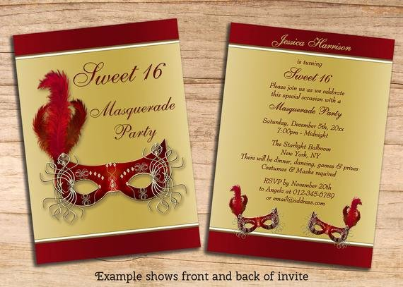 Sweet 16 Invite Template Fresh Items Similar to Printable Sweet 16 Masquerade Party