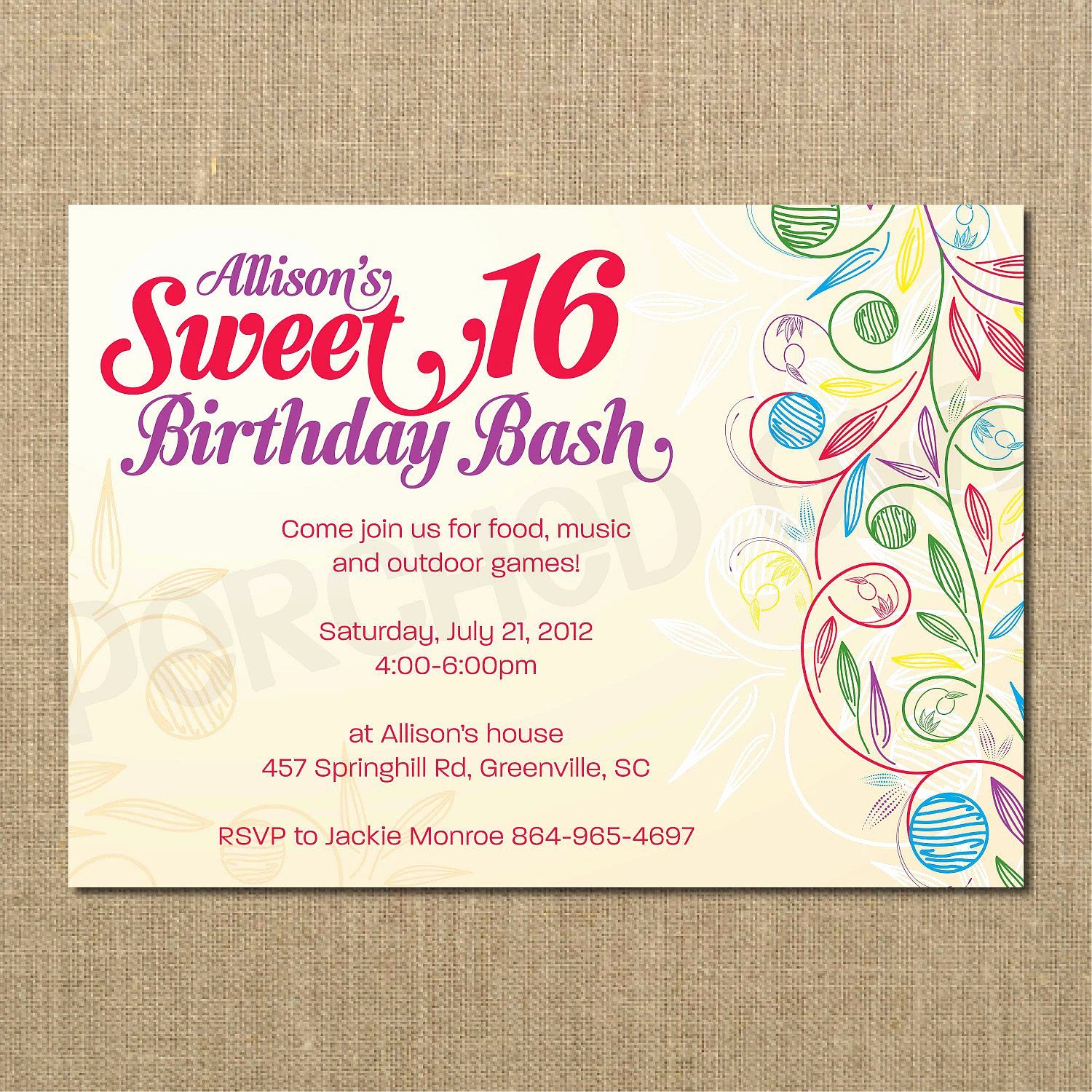 Sweet 16 Invite Template Fresh Sweet 16 Birthday Invitations Templates Free Sweet 16