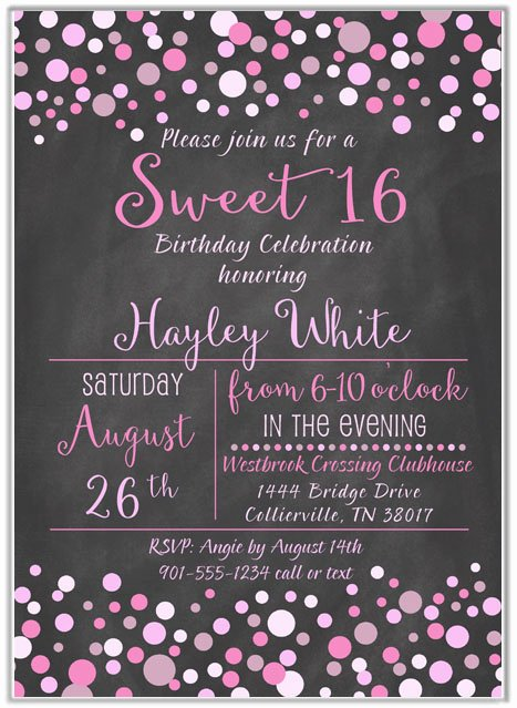 Sweet 16 Invite Template Fresh Sweet 16 Birthday Party Invitations