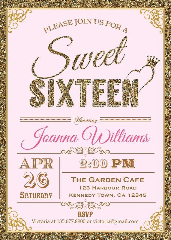 Sweet 16 Invite Template Inspirational Glitter Sweet Sixteen Invitation Sequin by