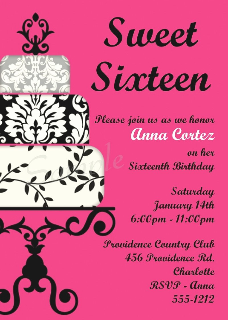 Sweet 16 Invite Template Inspirational Sweet 16 Invitation Printable – orderecigsjuicefo