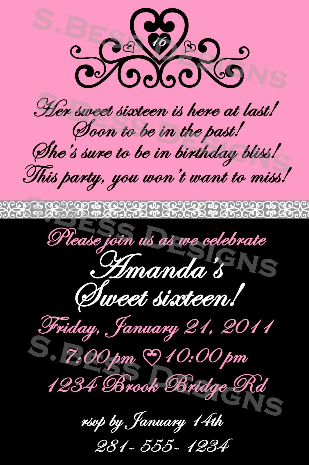 Sweet 16 Invite Template Lovely Sweet 16 Invitation Wording Template