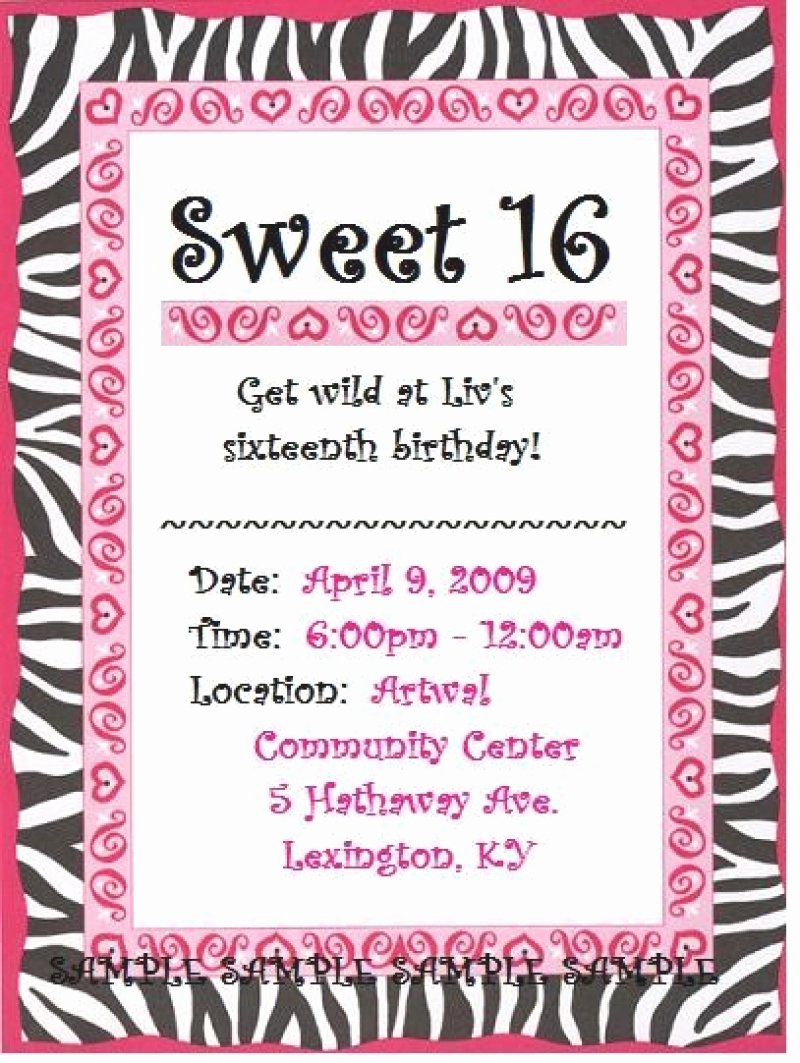 Sweet 16 Invite Template Luxury Sweet 16 Invitation Free – orderecigsjuicefo