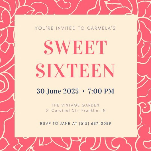 Sweet 16 Invite Template New Customize 545 Sweet 16 Invitation Templates Online Canva