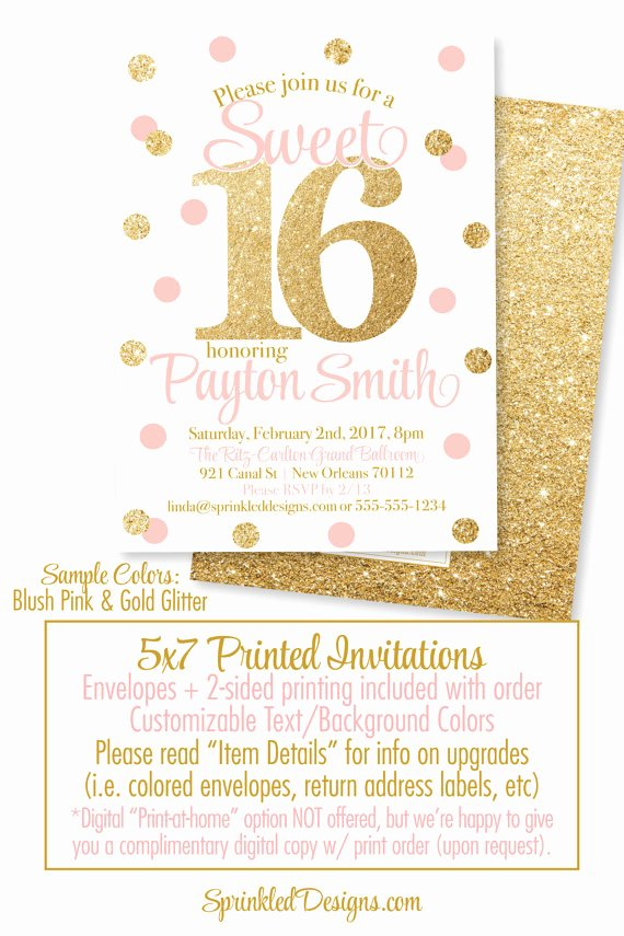 Sweet 16 Invite Template New Sweet 16 Invitations Pink and Gold Glitter Sweet Sixteen
