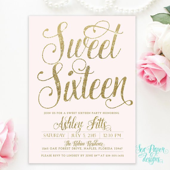 Sweet 16 Invite Template Unique Blush Pink & Gold Glitter Girl Sweet Sixteen 16th Birthday