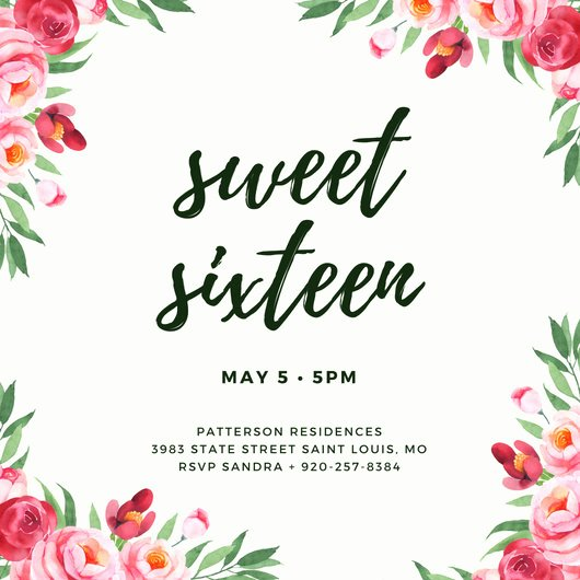 Sweet Sixteen Invitation Template Awesome Customize 545 Sweet 16 Invitation Templates Online Canva