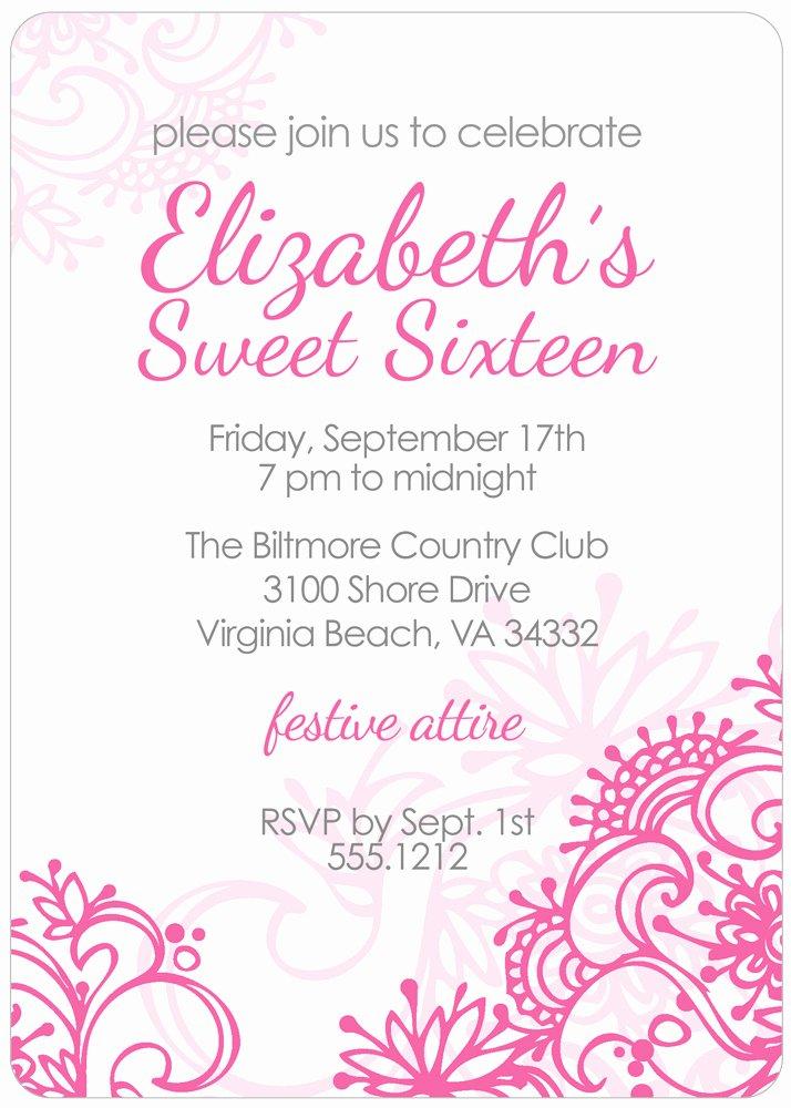 Sweet Sixteen Invitation Template Best Of Free Printable Sweet 16 Birthday Invitations