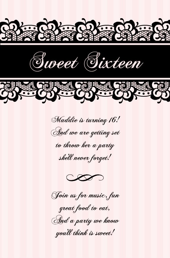 Sweet Sixteen Invitation Template Fresh Free Printable Sweet 16 Invitation Templates