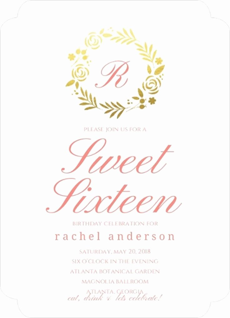 Sweet Sixteen Invitation Template Inspirational 151 Best Birthday Invitations Images On Pinterest