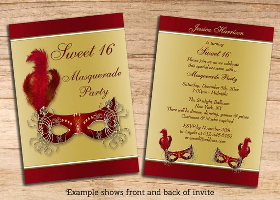 Sweet Sixteen Invitation Template Inspirational Items Similar to Printable Sweet 16 Masquerade Party