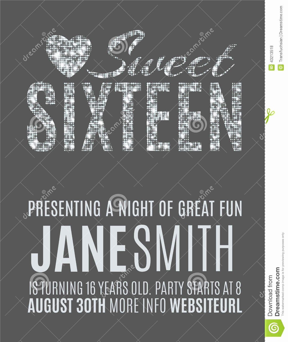 Sweet Sixteen Invitation Template Luxury Sweet 16 Party Invitation Template Stock Vector Image