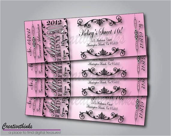 Sweet Sixteen Invitation Template Luxury Sweet 16 Ticket Invitation Digital File by Creativethinks