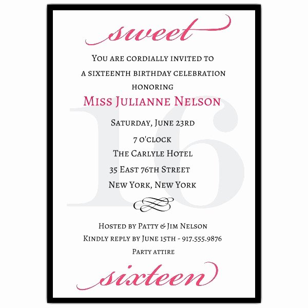 Sweet Sixteen Invitation Template Unique Classic Pink Sweet 16 Birthday Invitations