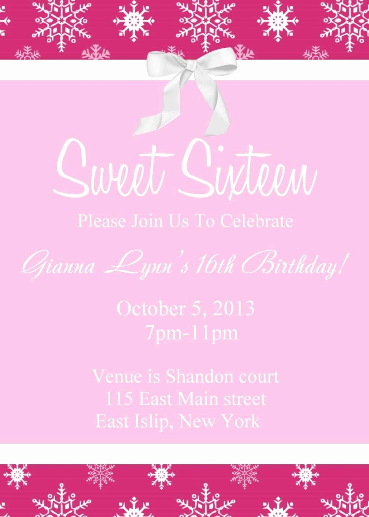 Sweet Sixteen Invitation Template Unique Free Sweet 16 Invitation Templates Template Update234