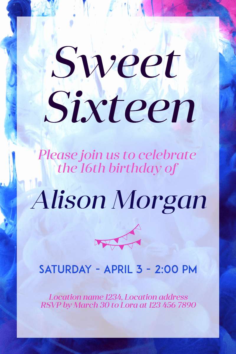 Sweet Sixteen Invitation Template Unique Sweet Sixteen Invitation Sweetsixteen Party Pixteller