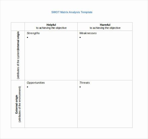 Swot Analysis Template Doc Beautiful 6 Blank Swot Analysis Templates Free Sample Example