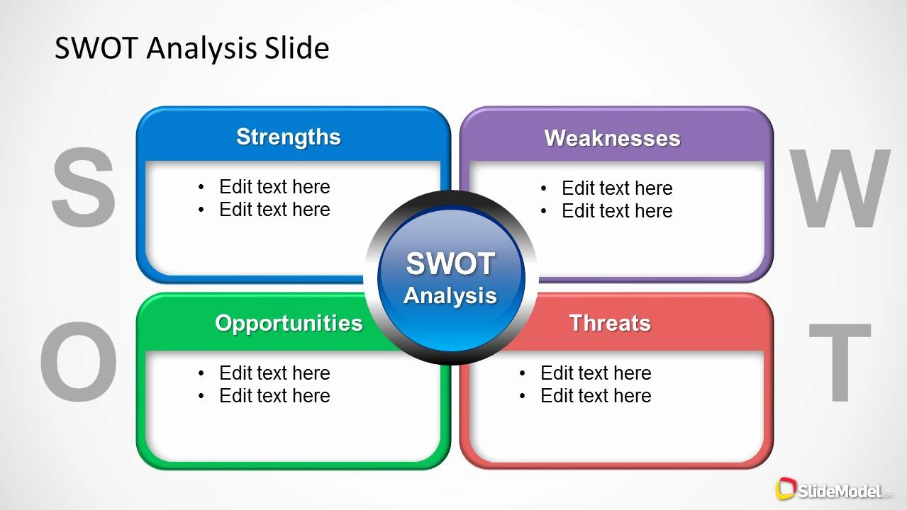 Swot Analysis Template Doc Unique Colorful Swot Analysis Diagram for Powerpoint Slidemodel