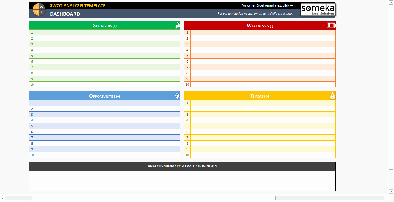 Swot Analysis Template Excel New Swot Analysis Template Printable and Free Excel Spreadsheet