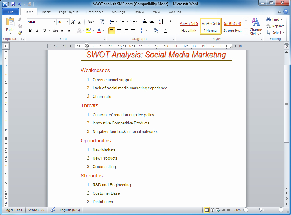 Swot Analysis Template Word Luxury How to Make Swot Analysis In A Word Document