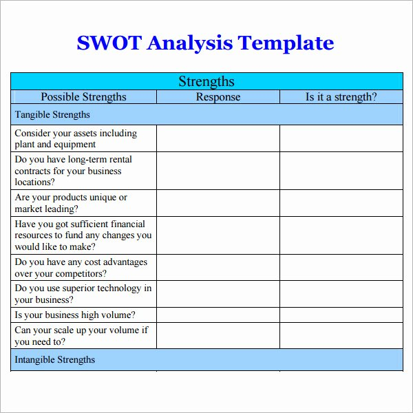 Swot Analysis Template Word Luxury Swot Analysis Templates 14 Download Documents In Pdf Word