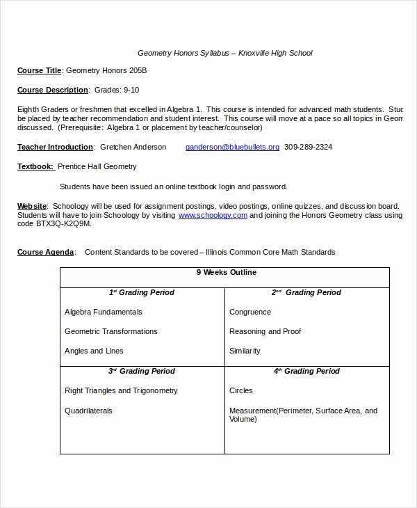 Syllabus Template High School Lovely Syllabus Template 7 Free Word Documents Download