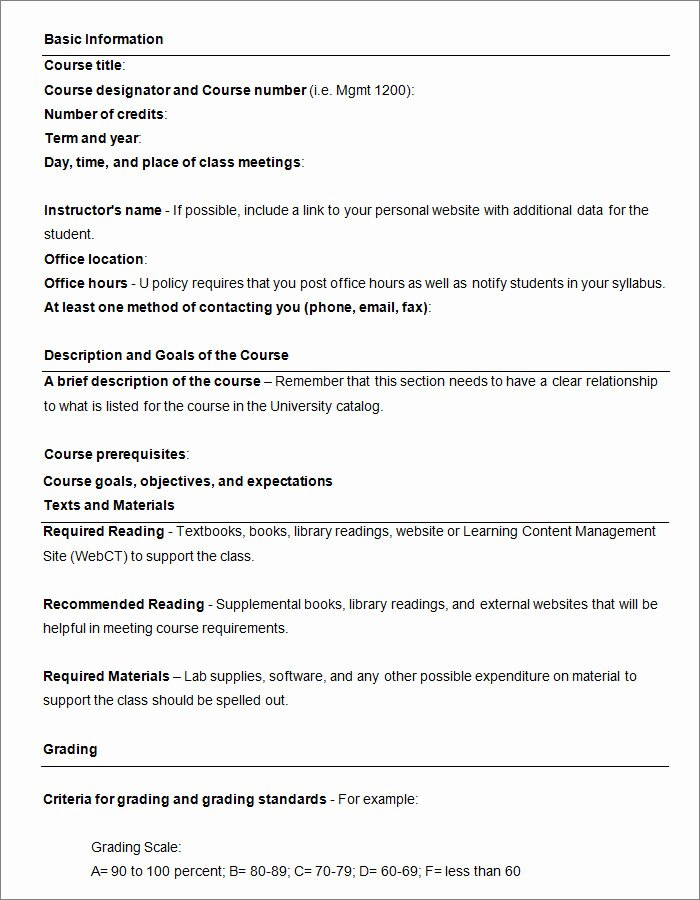 Syllabus Template High School New Syllabus Template Free Templates