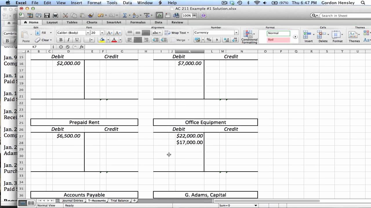 T Account Excel Template Lovely Intermediate Journal Entries T Accounts and Trial