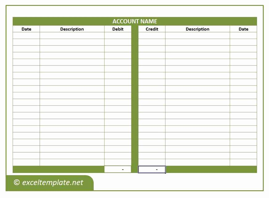 T Account Excel Template New General Ledger