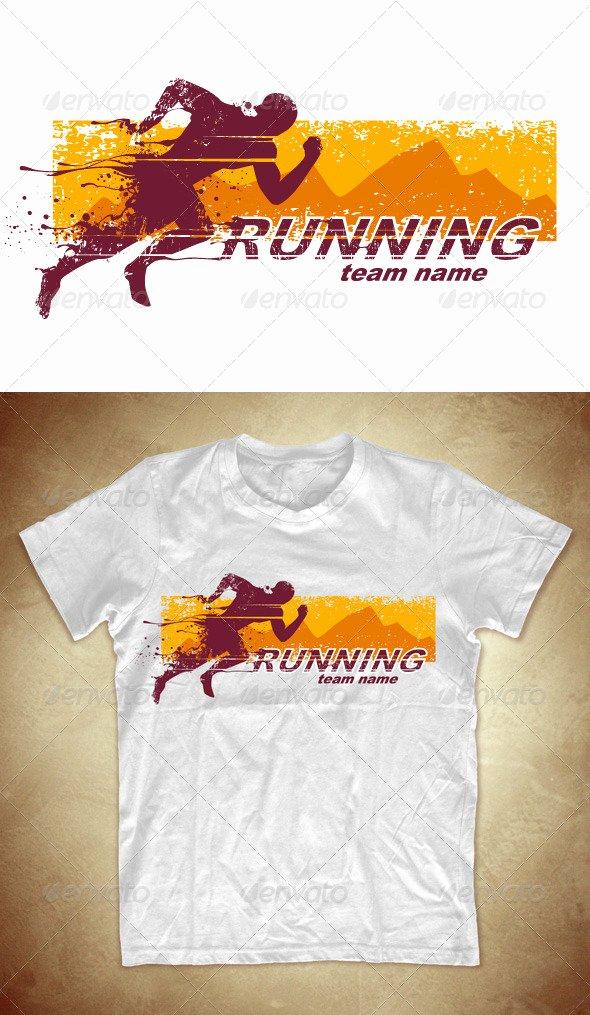 T Shirt Flyer Template Inspirational Grunge T Shirt Design with Running athlete