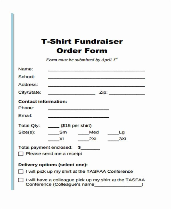 T Shirt form Template Fresh Simple order forms