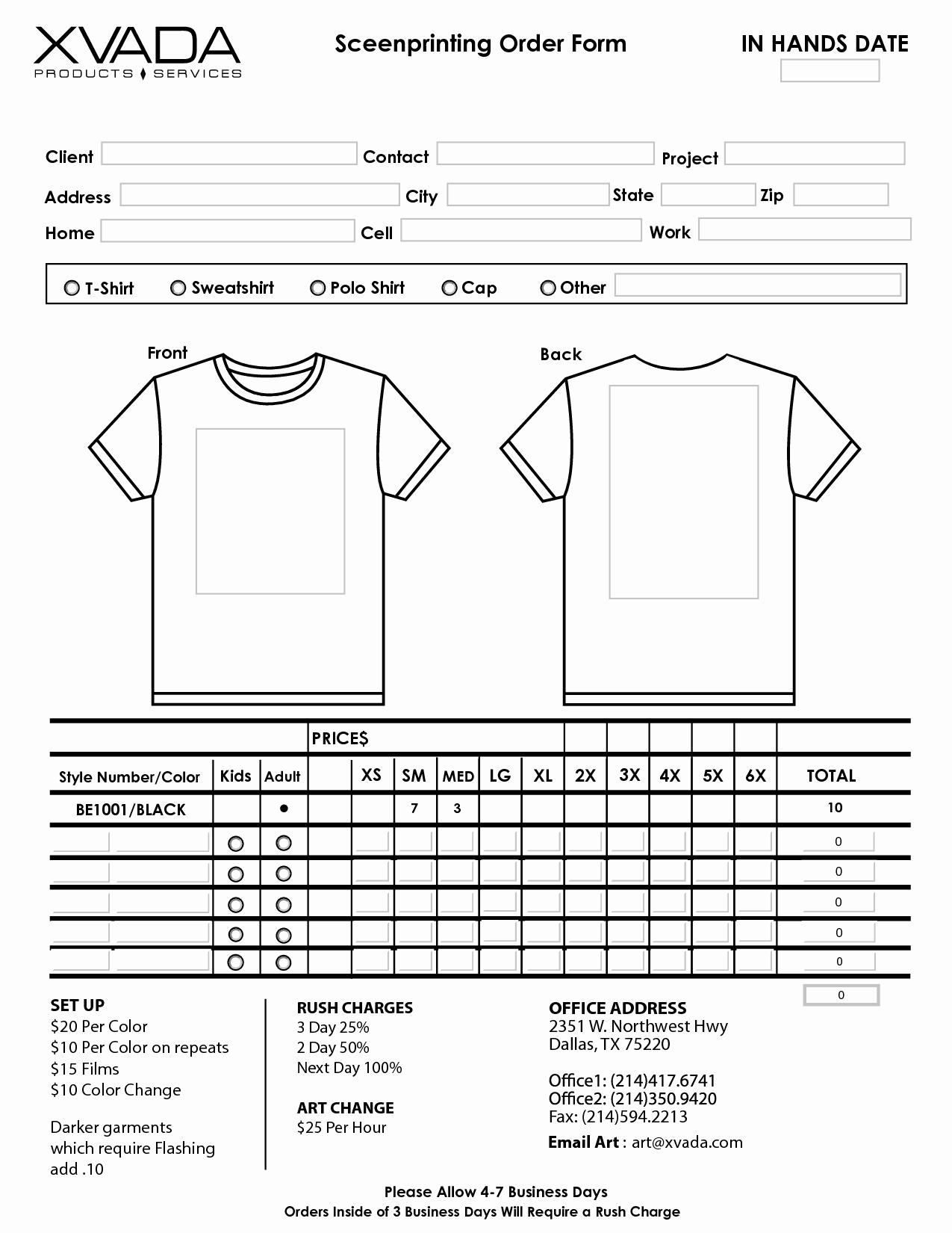 T Shirt form Template Inspirational T Shirt order form Template