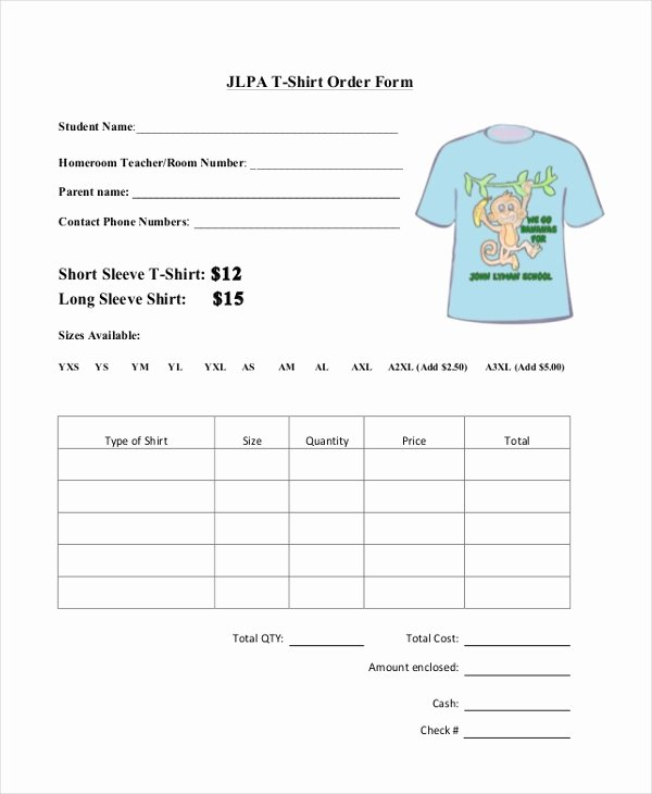 T Shirt form Template New Sample T Shirt order forms 9 Free Documents In Pdf Doc