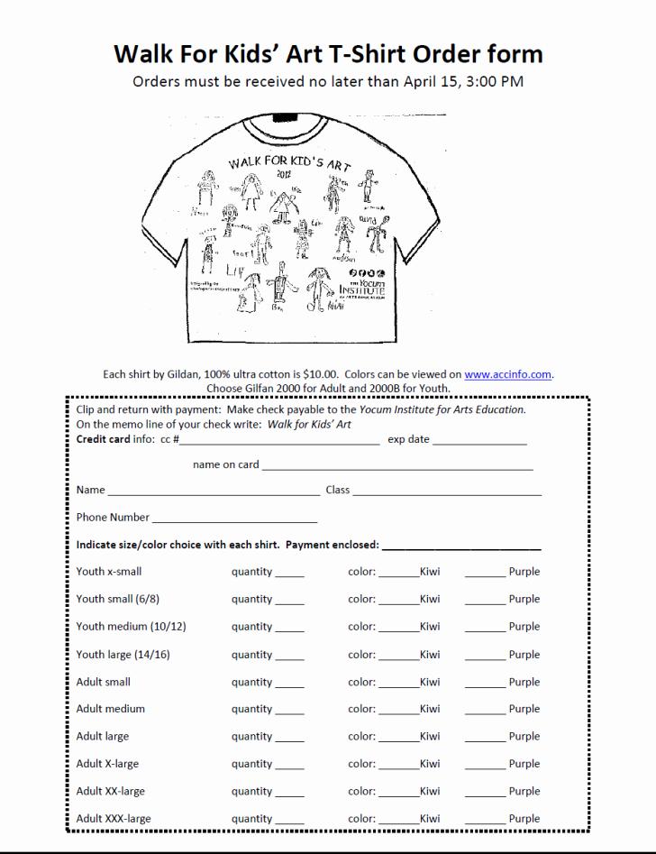 T Shirt form Template Unique form T Shirt order form