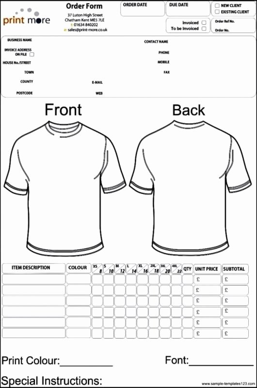 T Shirt order Template Best Of Apparel order form Template Template