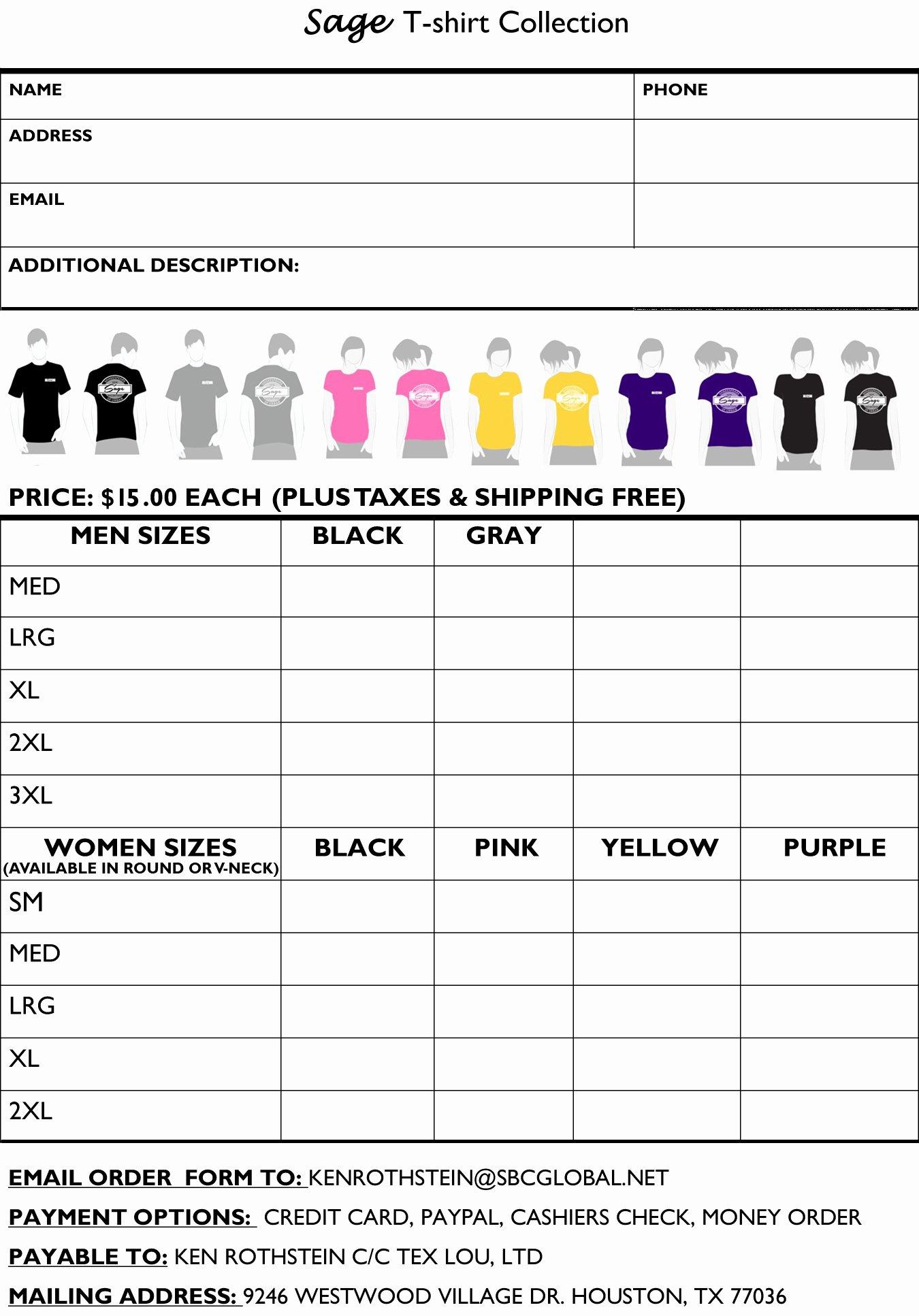 T Shirt order Template Elegant Store