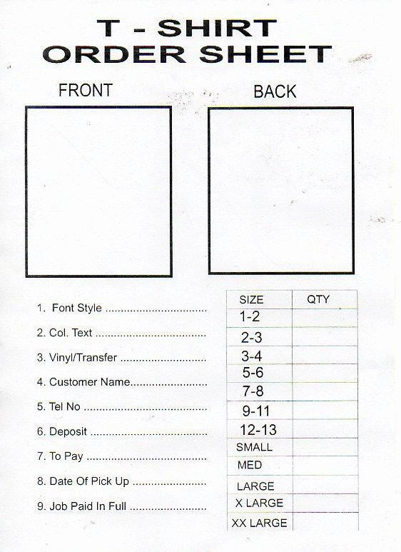 T Shirt order Template Fresh Tshirt order form