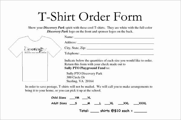T Shirt order Template Lovely T Shirt order forms Ideasplataforma