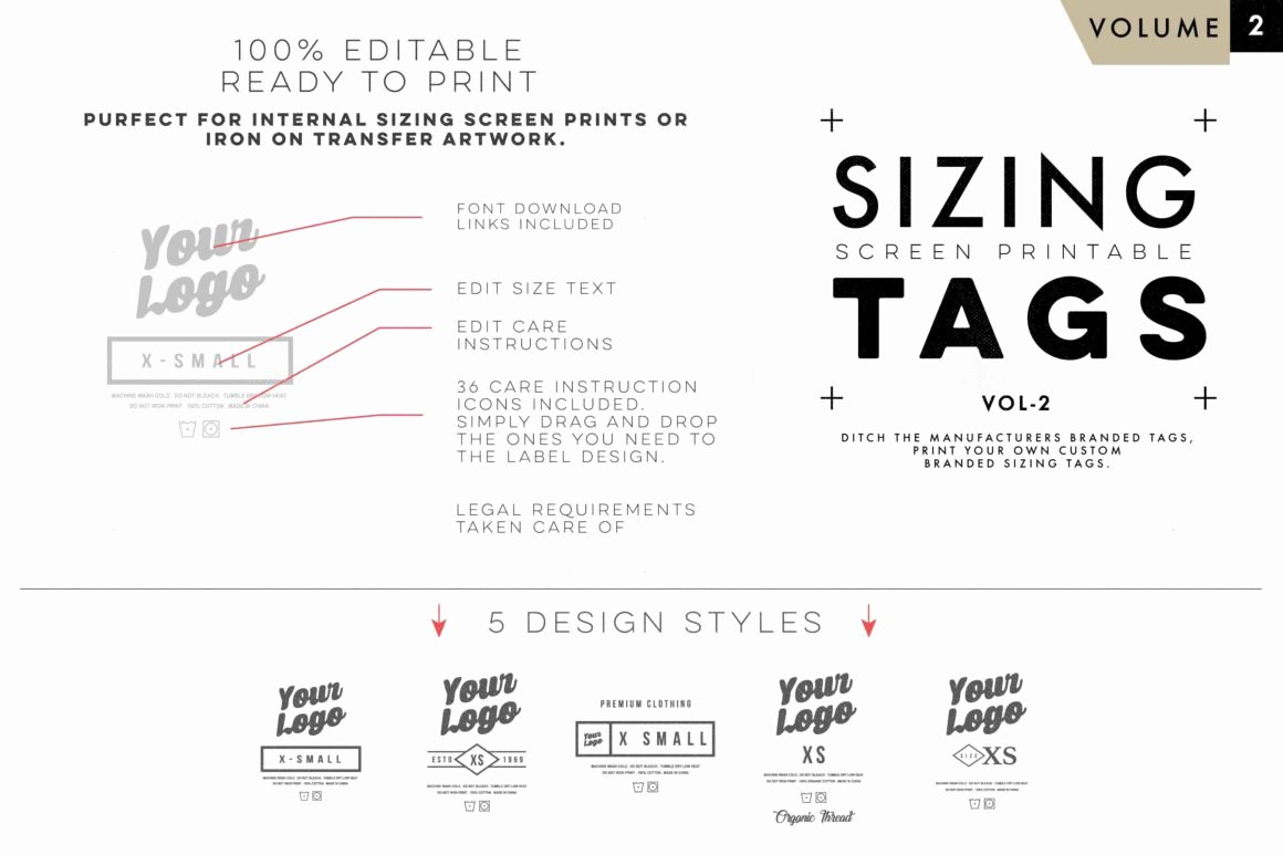 T Shirt Tag Template Unique Screen Print Apparel Sizing Tag Templates Vol2