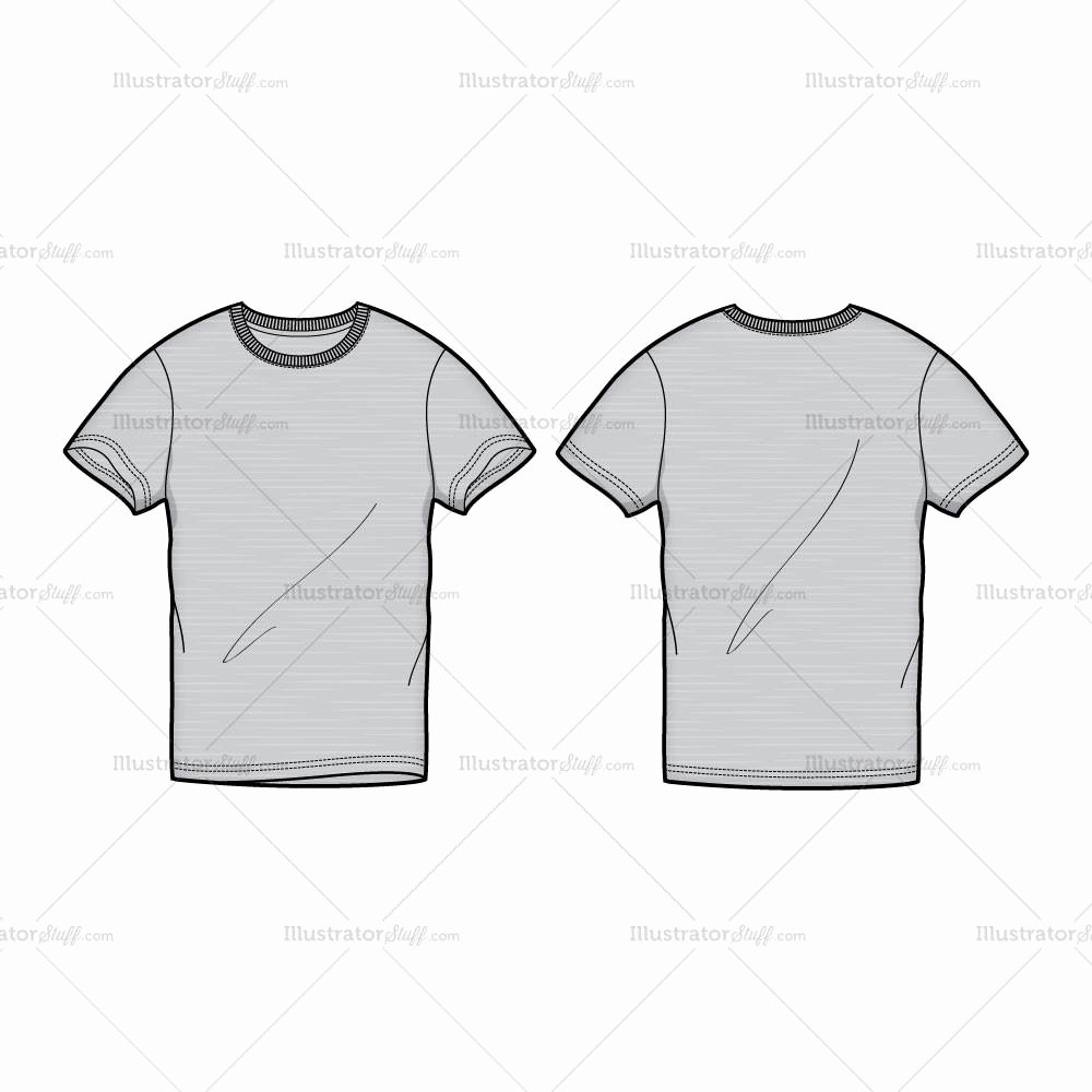 T Shirt Template Illustrator Awesome Men S Gray Round Neck T Shirt Fashion Flat Template